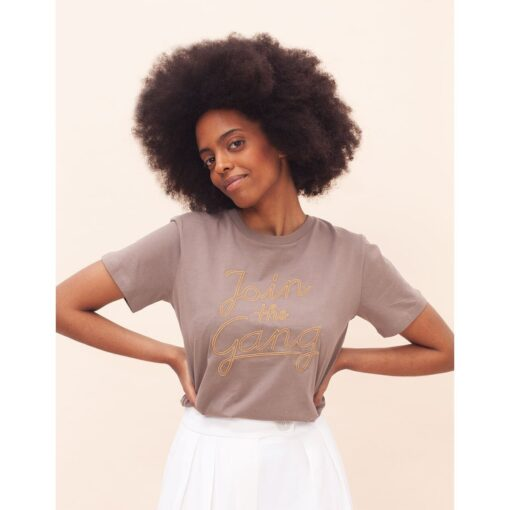 ADIEU CLICHÉ Join The Gang T-Shirt stitch walnut