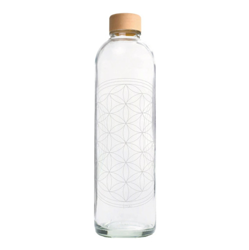 CARRY Trinkflasche aus Glas 1l Flower of Life