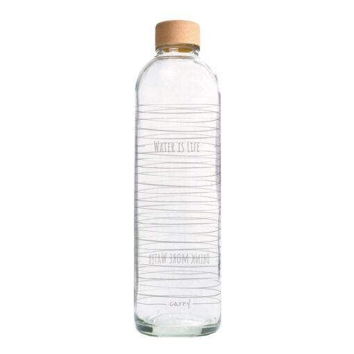 CARRY Trinkflasche aus Glas 1l Water is life