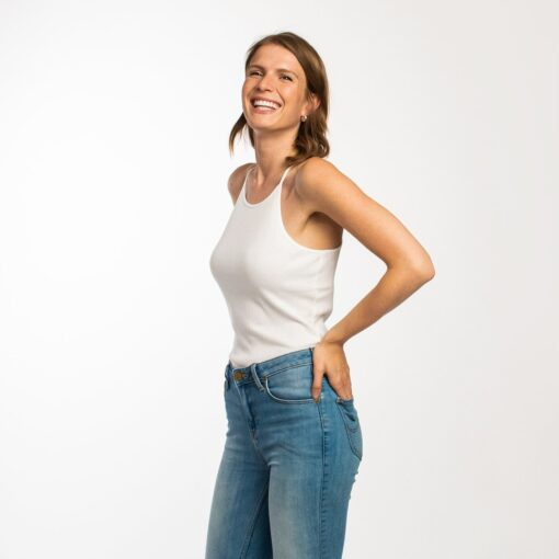 Honest Basics Women Geripptes Top weiß