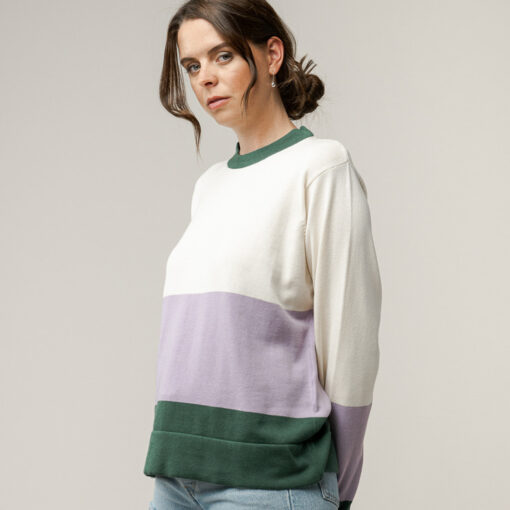 MELAWEAR Damen Feinstrick-Pullover ILA Cream / Lilac / Bottled Green