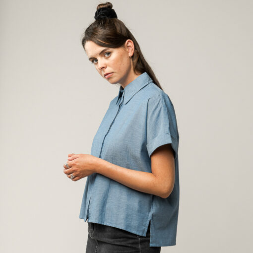MELAWEAR Bluse Nilay Blue Chambray